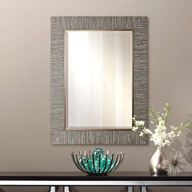 "Belaya Textured Stripe 28"" x 38"" Rectangle Wall"