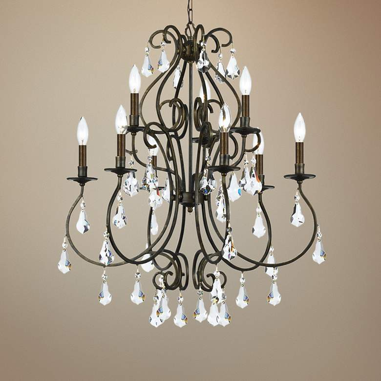 "Crystorama Ashton 25 1/2""W English Bronze 9-Light Chandelier"