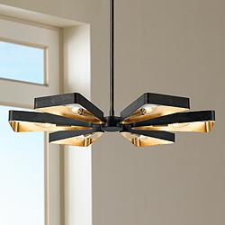 "Crystorama Luna 26 3/4""W Bronze and Gold 6-Light Pendant"