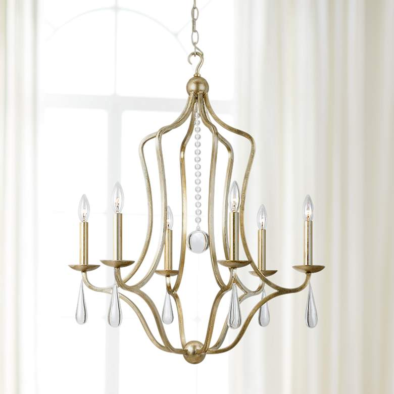 "Crystorama Manning 26""W Silver Leaf 6-Light Chandelier"