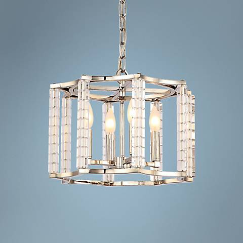 "Crystorama Carson 16""W Polished Nickel 4-Light Pendant"