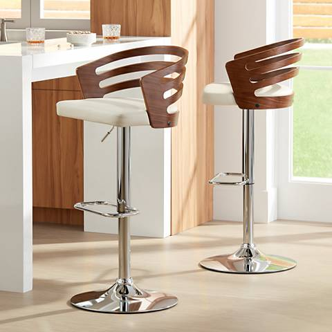 Adele Cream Adjustable Swivel Bar Stools Set of 2