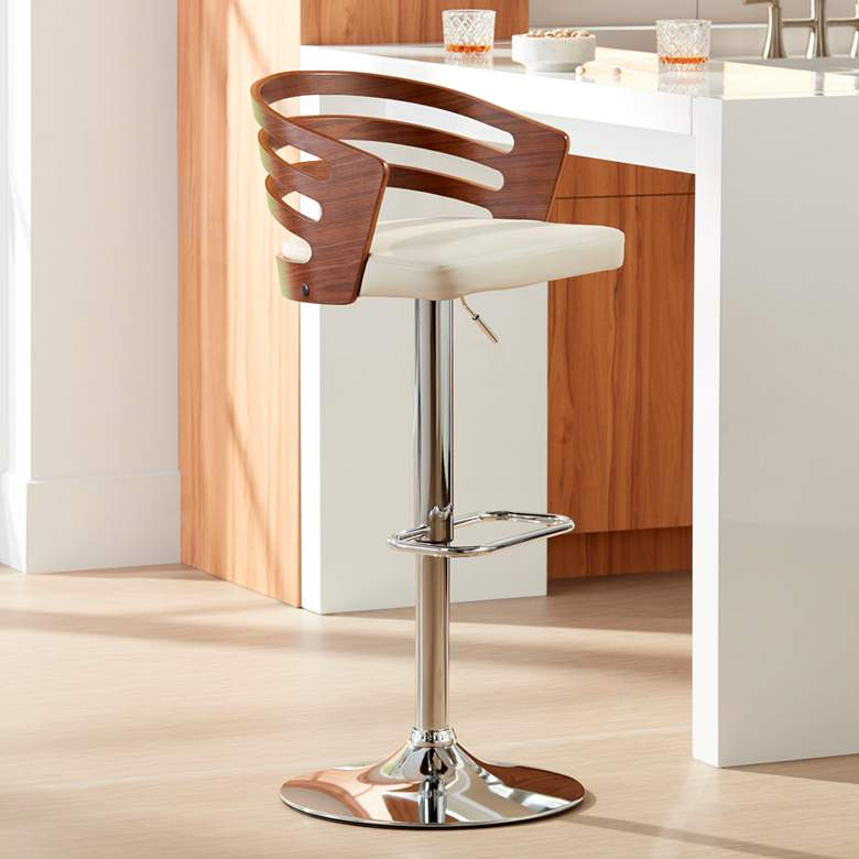 Adele Cream Faux Leather Adjustable Swivel Modern Bar Stool