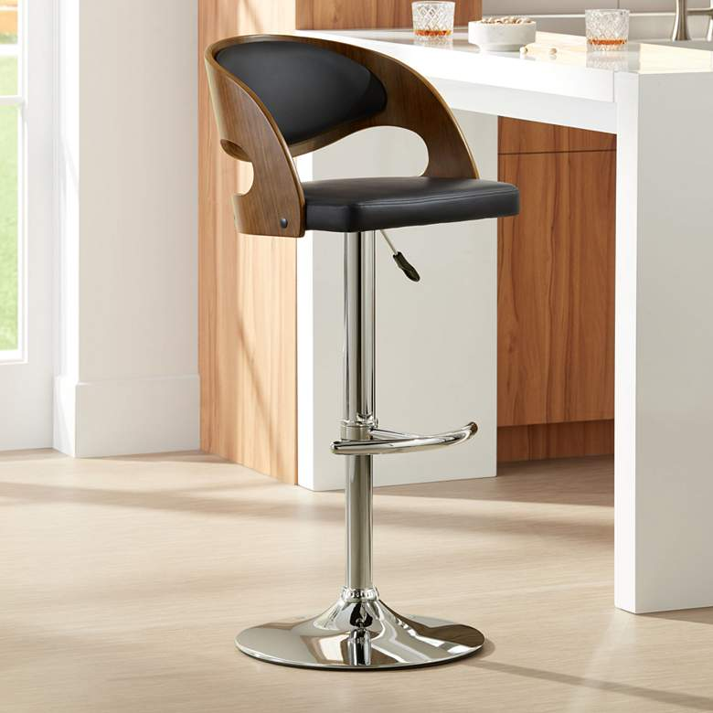 Malibu Black Faux Leather Adjustable Swivel Bar Stool