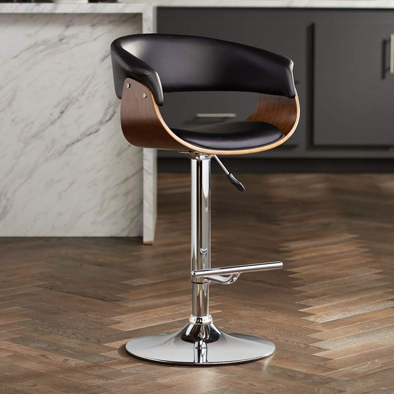 Francesca Black Faux Leather Adjustable Swivel Barstool
