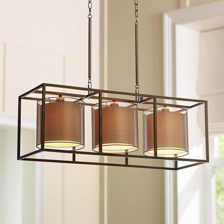 "Conroe Bronze Metal Cube 37"" Wide Linear Island Chandelier"