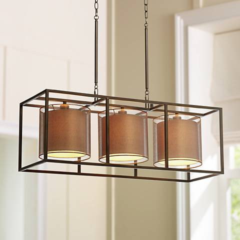 "Conroe Oil-Rubbed Bronze Metal Cube 37"" Wide Island Pendant"