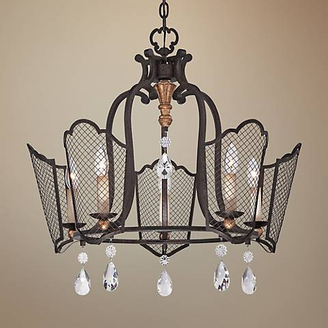 "Cortona 25"" Wide 5-Light French Bronze Chandelier"