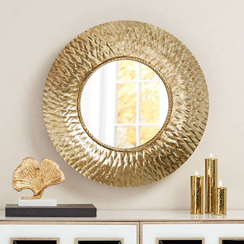 "Almese Gold Diamond 24"" Round Wall Mirror"