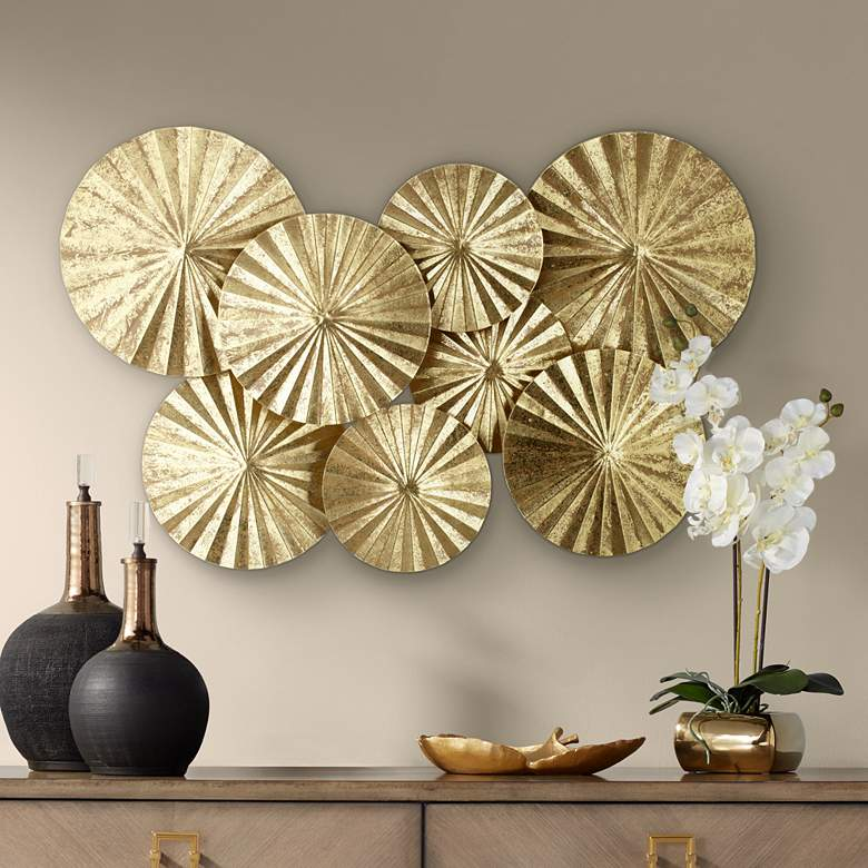 "Dynasty 33 1/2"" Wide Gold Fan Wall Art"