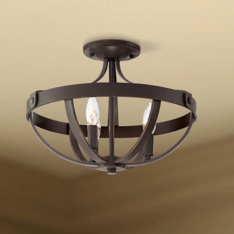 "Anaya 15"" Wide 3-Light Bronze Ceiling Light"