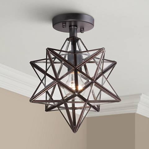 "Cuthbert Clear Glass 11"" Wide Black Iron Star Ceiling Light"