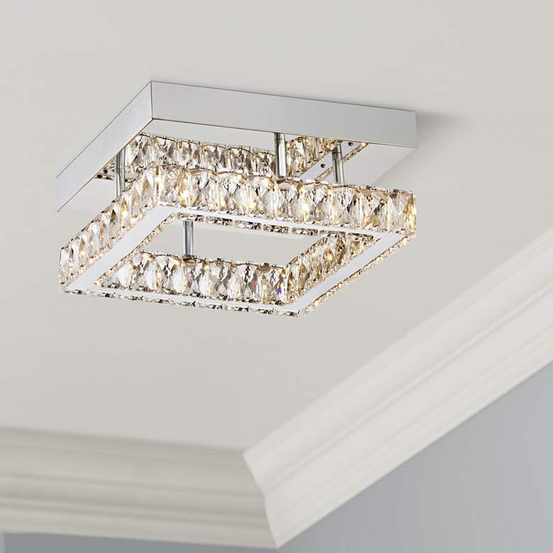 "Patricia Crystal Square 12"" Wide Chrome LED Ceiling"