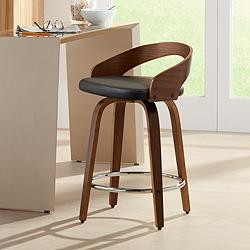 "Gratto 24"" Chocolate Faux Leather Swivel Counter Stool"