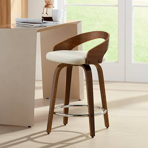 "Gratto 24"" Cream Faux Leather Walnut Swivel Counter Stool"
