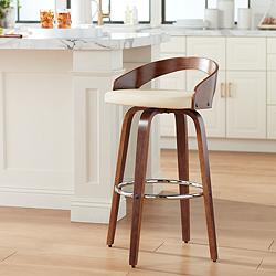 "Gratto 29 1/4"" Cream Faux Leather Walnut Swivel Bar Stool"