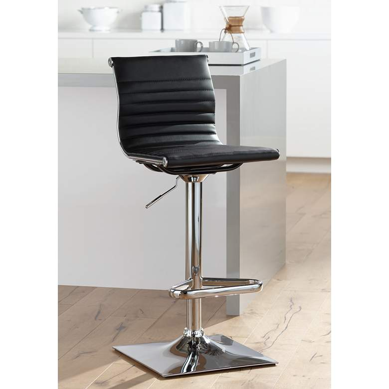 Super Master Black Faux Leather Chrome Adjustable Swivel Bar Stool Caraccident5 Cool Chair Designs And Ideas Caraccident5Info