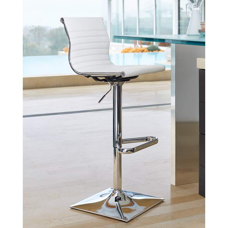Master White Faux Leather Chrome Adjustable Swivel Bar Stool