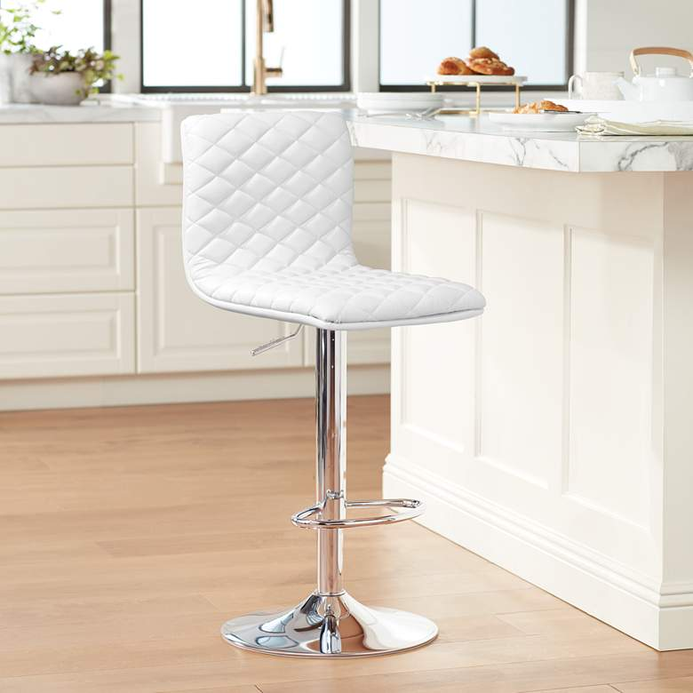 Caviar Chrome and White Adjustable Swivel Bar Stool