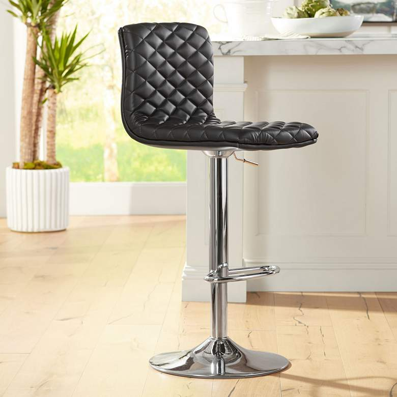 Caviar Chrome and Black Adjustable Swivel Bar Stool