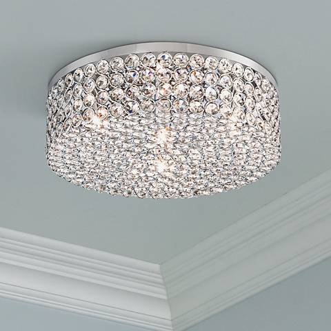 "Velie 12"" Wide Round Crystal Ceiling Light"