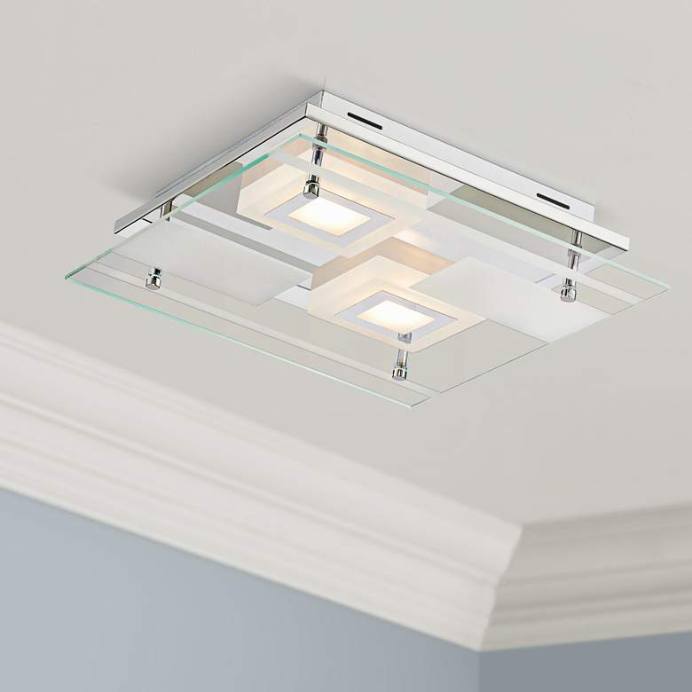 "Reese 13 1/2"" Wide Glass LED Ceiling Light"