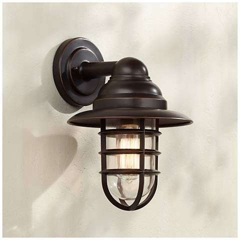 "Marlowe 13 1/4"" High Bronze Hooded Cage Outdoor Wall Light"
