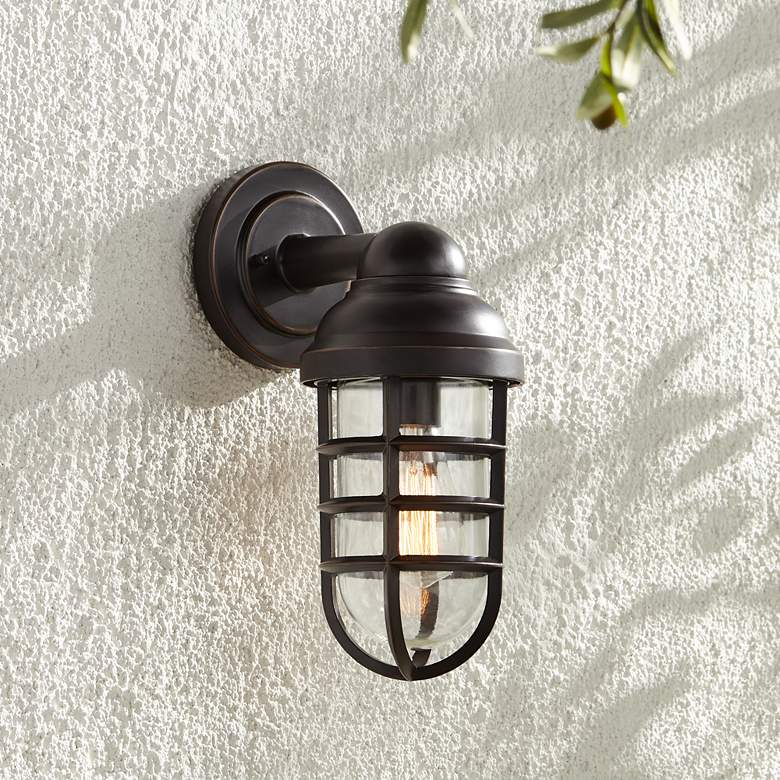 "Marlowe 13 1/4"" High Bronze Metal Cage Outdoor Wall Light"