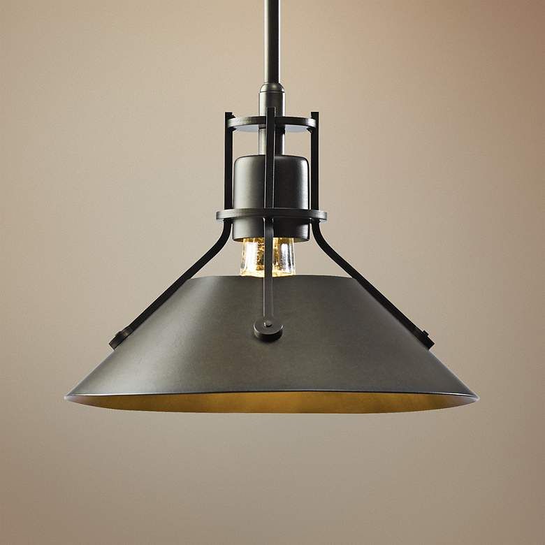 "Hubbardton Forge Henry 9 1/4"" Wide Bronze Mini Pendant"