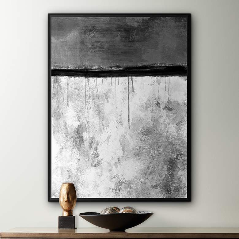 "Abstract Shades of Gray 40 1/2"" High Canvas"