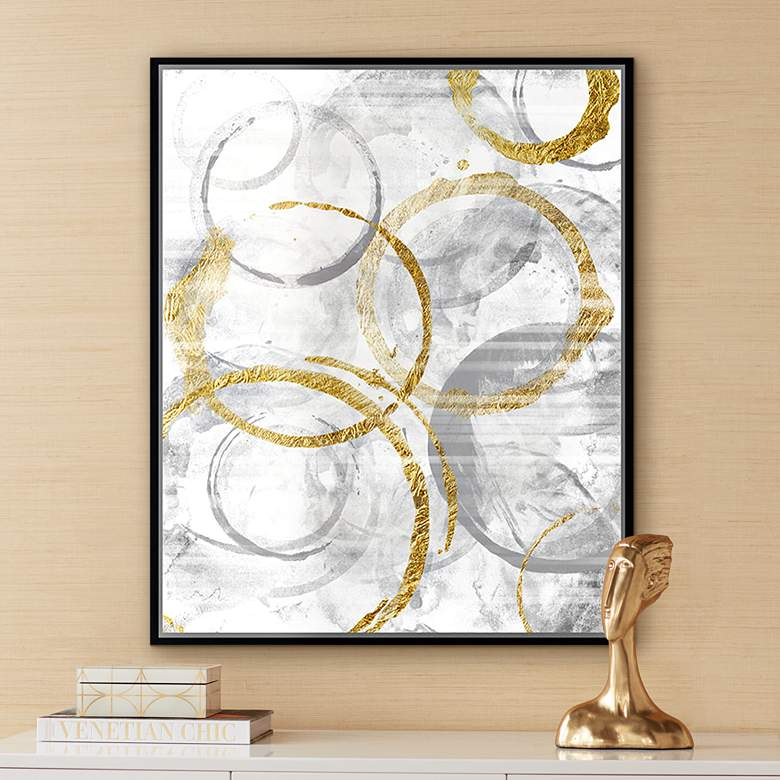 "Golden Circles II 37 3/4"" High Framed Canvas"