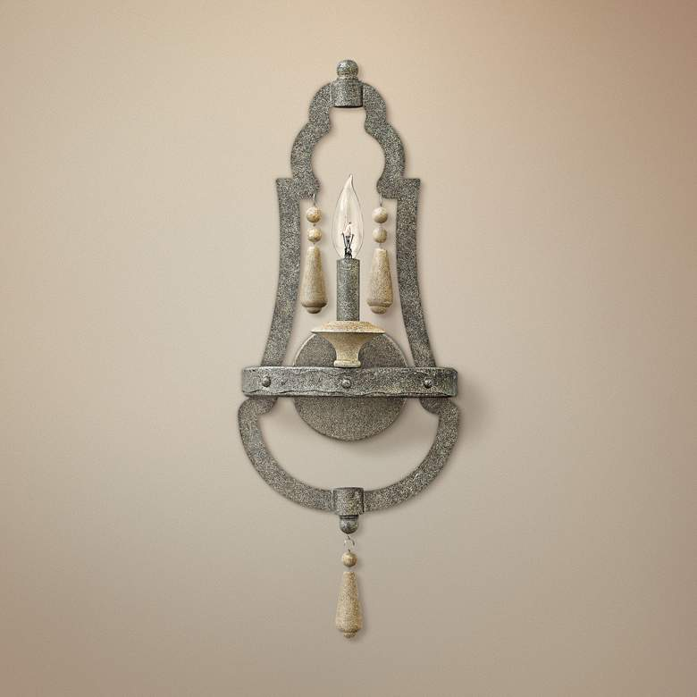 "Cordoba 22 1/2""H Distressed Iron Wall Sconce"