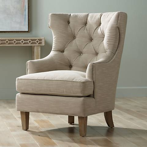 high back accent chairs Reese Studio Oatmeal High Back Accent Chair   #8G308 | Lamps Plus high back accent chairs