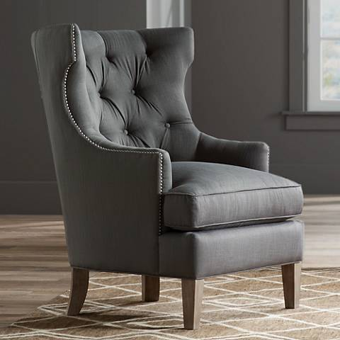 Reese Studio Charcoal High-Back Accent Chair