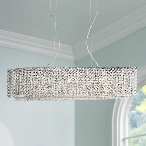 "Adali Cruve 32"" Wide Clear Crystal Linear Chandelier"