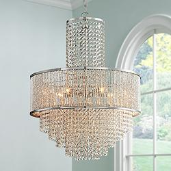 "Pioggia Chrome 23 1/2"" Wide Crystal Chandelier"