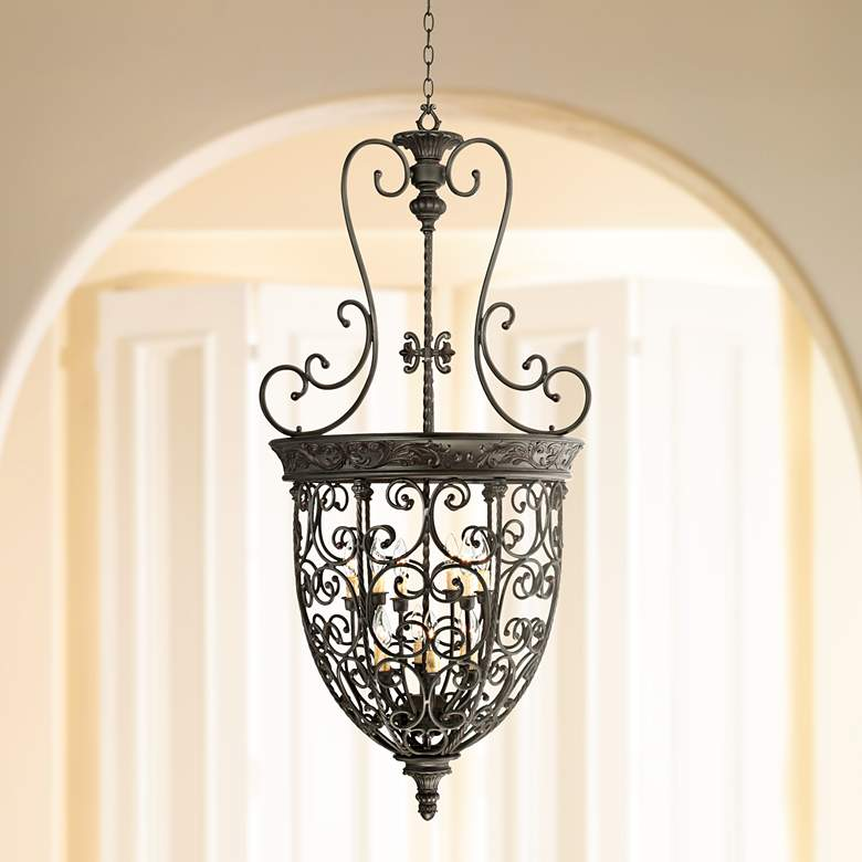 "French Scroll 27 1/2"" Wide 12-Light Foyer Chandelier"