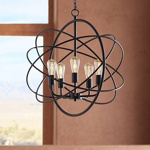 "Ellery 24 3/4"" Wide 5-LED Light Bronze Sphere Foyer Pendant"