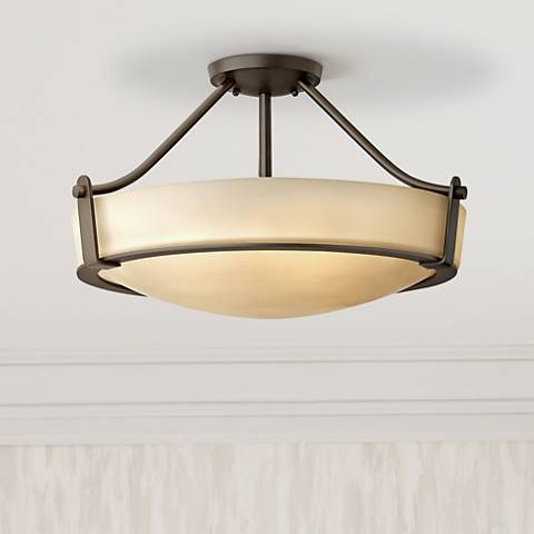 "Hinkley Hathaway 20 3/4""W Olde Bronze Amber Ceiling Light"