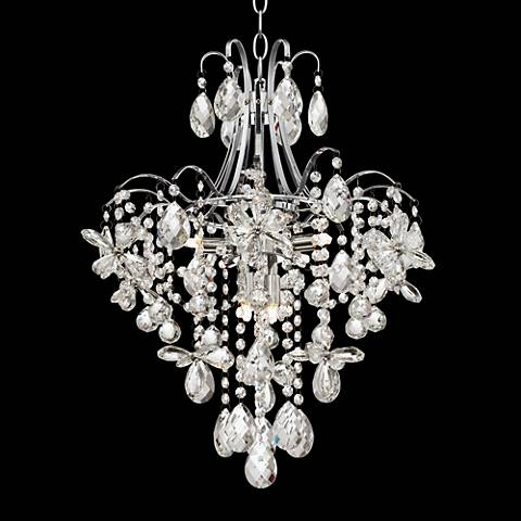 "Crystal Flower 19 1/2"" Wide 7-Light Chrome Chandelier"