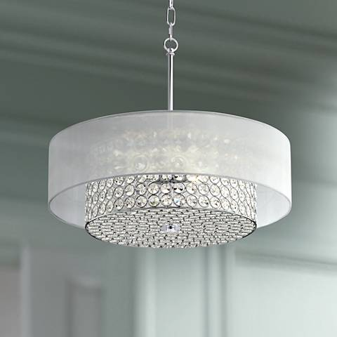 "Possini Euro Viviette 20""W Chrome and Crystal Pendant Light"