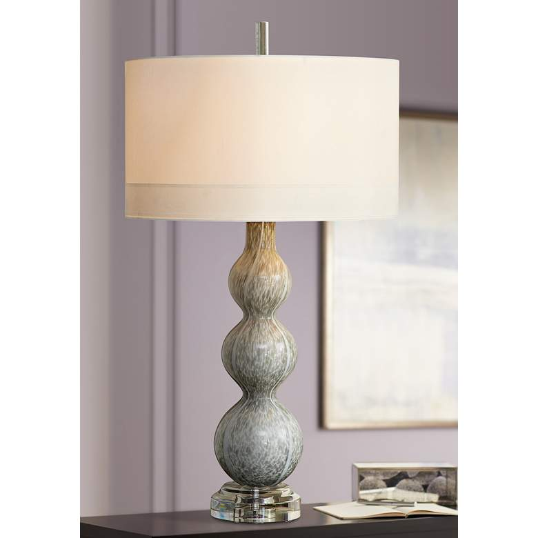 Cloud Light Gray Art Glass Table Lamp
