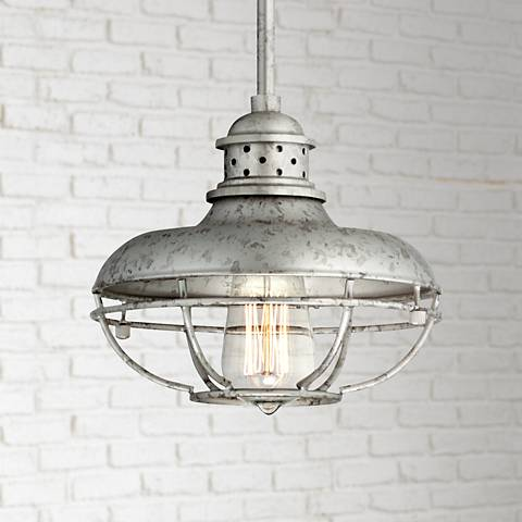 "Franklin Park 8 1/2"" Wide Galvanized Steel Mini Pendant"