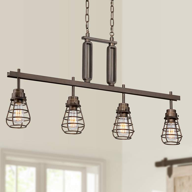 "Bendlin 40 3/4"" Wide Bronze LED Kitchen Island Light Pendant"
