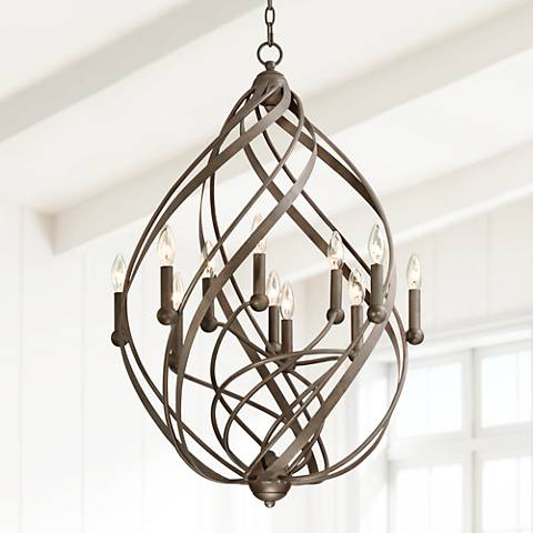 "Gwinnett 23 1/2"" Wide 11-Light Twisted Bronze Pendant Light"