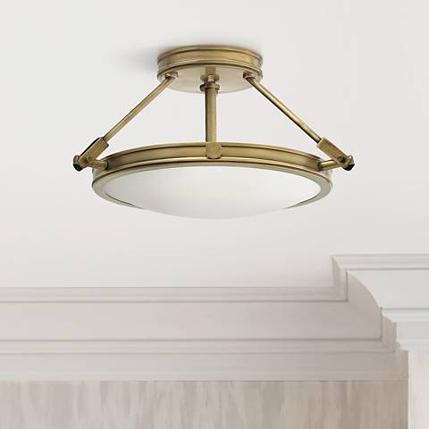 "Hinkley Collier 16 1/2"" High Heritage Brass Ceiling Light"