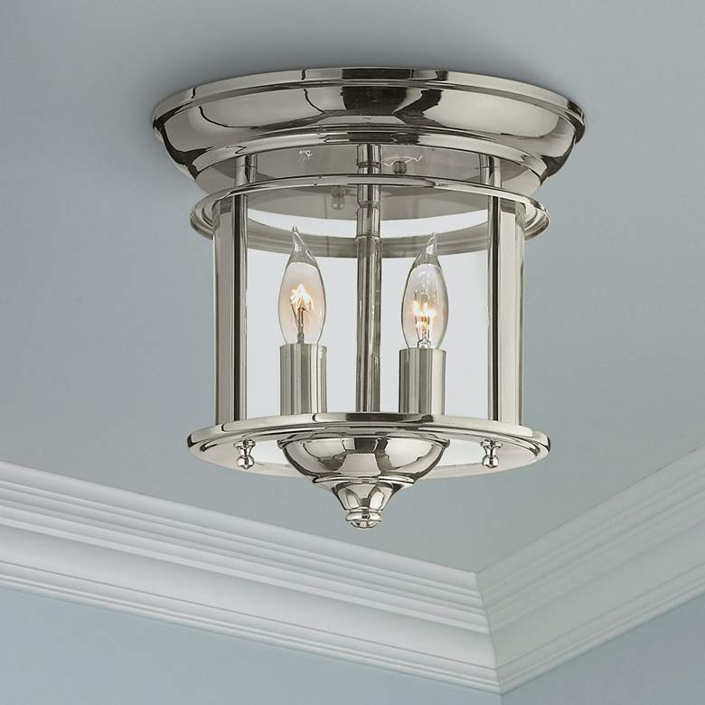 "Hinkley Gentry 9 1/2"" Wide Polished Nickel Ceiling"