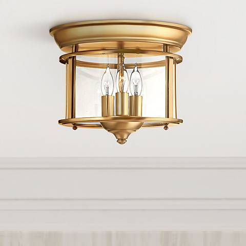 "Hinkley Gentry 11 1/2"" Wide Heirloom Brass Ceiling Light"