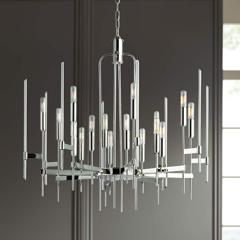 "Hudson Valley Bari 30"" Wide Polished Nickel Chandelier"
