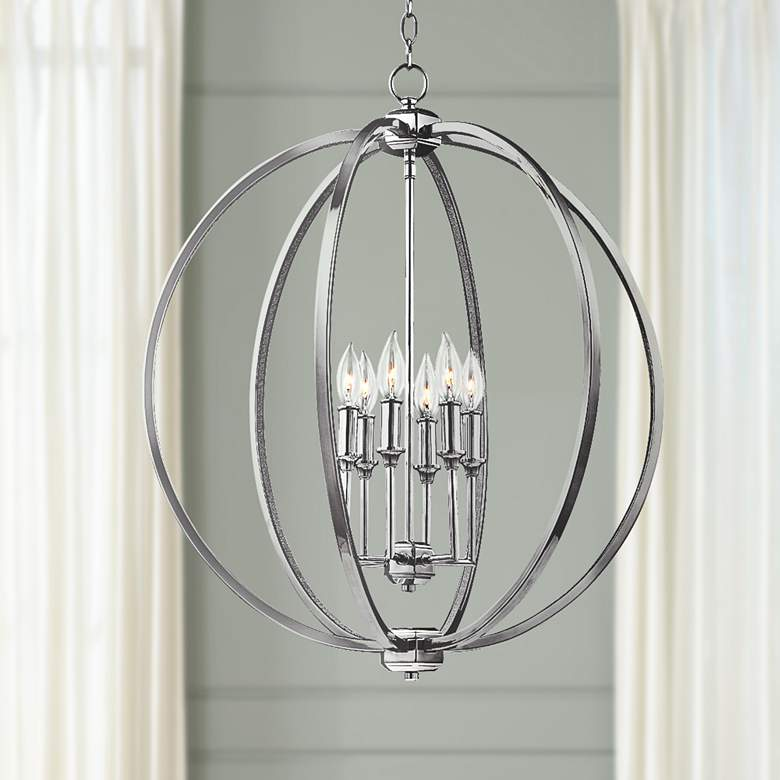 "Feiss Corrine 24 1/2"" Wide Polished Nickel Orb Pendant"